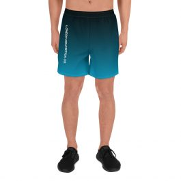 Men's Athletic Long Shorts – Black/Blue Side Logo